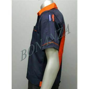 เสื้อคลุม ยูนิฟอร์ม เสื้อเชิ้ต (M) - สีกรมท่า/ส้ม
