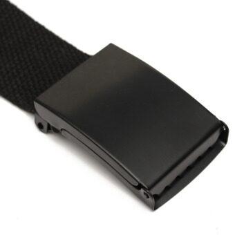 เพศหญิงชายขอบเรียบสายรัดเอวรัดเข็มขัดผ้าใบลำลองสีดำ