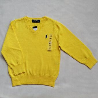 Polo Ralph Lauren เสื้อไหมพรมเนื้อนุ่ม สีเหลืองปักม้าโปโล Signature สีกรมท่า คอวีแขนยาว