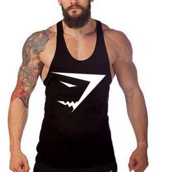 ชายเดี่ยวพิมพ์เสื้อห้องออกกำลังกายกล้ามเนื้อแข็งแรงออกกำลังกายเพาะกายผู้สนเสื้อเสื้อกั๊กสีดำ