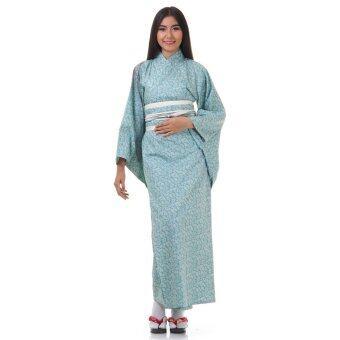 Princess of asia กิโมโนยาวผู้หญิงพิมพ์ลาย (สีฟ้า)