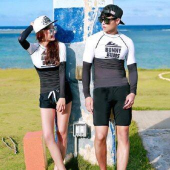 Dolly ชุดว่ายน้ำชาย ชุดดำน้ำ (เสื้อแขนยาว+กางเกงขาสั้น) (สีดำ-ขาว) รุ่น 6015