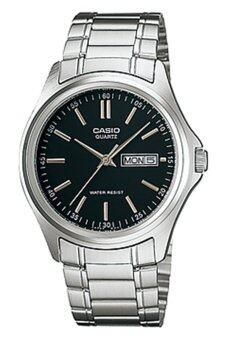 Casio Standard นาฬิกาข้อมือผู้ชาย สีเงิน/หน้าดำ สายสแตนเลส รุ่น MTP-1239D-1ADF