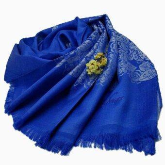 รชาผ้าพันคอผ้าไหมลายดอกไม้ (สี Cobalt)