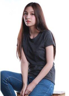 SimpleArea Premium cotton T-shirts เสื้อยืดคอกลม - Dark Gray Top Dye