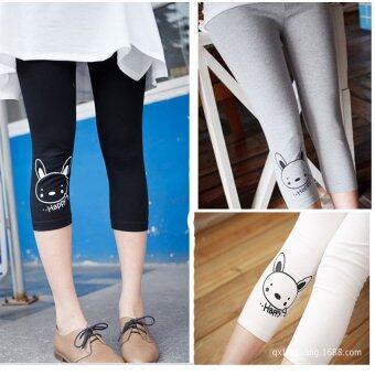 BENITA Maternity-Leggings กางเกงเลคกิ้งคนท้องลายกระต่าย (แพค 3) สีดำ+เทาอ่อน+สีขาว