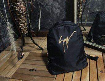 Platinum Fashion กระเป๋าสะพายหลังแฟชั่น สีดำ ผ้าหนาดี ทน รุ่น427