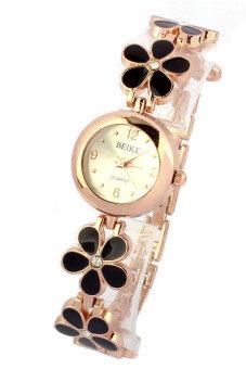 แฟชั่นเดซี่ดอกไม้กุหลาบทองสร้อยข้อมือหญิงสาวนาฬิกาข้อมือสีดำ