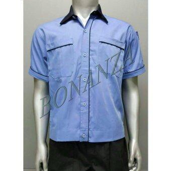 เสื้อคลุม ยูนิฟอร์ม เสื้อเชิ้ต (L) - สีฟ้า/กรม