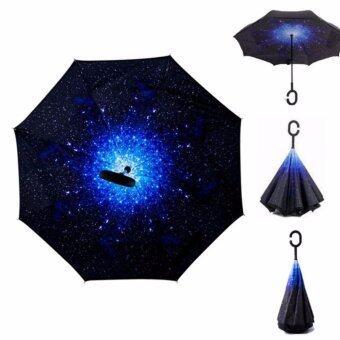 Reverse Umbrella ร่มหุบกลับด้านมือจับตัว C-ลายท้องฟ้ากลางคืน