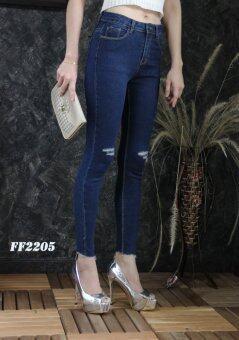 Platinum Fashion กางเกงยีนส์ขายาวเอวสูง ทรงสกินนี่ แต่งขาด รุ่นFF2205