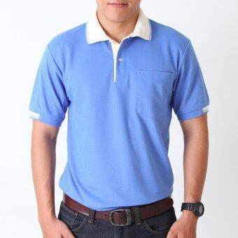 POLOMAKER เสื้อโปโล KanekoTK PK024 สีฟ้าเข้มปกขาว (Male)