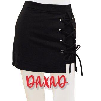 DaXaD กางเกงกระโปรง แบบผูกเชือก ถักเปีย สีดำ