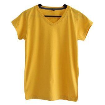 Chahom เสื้อยืดคอวี ( สีเหลืองมัสตาร์ด )