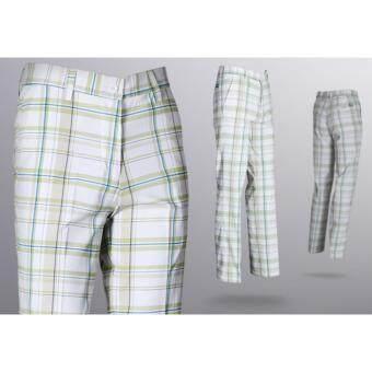 EXCEED กางเกงกอล์ฟผู้ชายขายาว #23 สีขาวลายตาราง (KUZ003) PGM Men's Golf PANTS Gentleman Plaid Quick Dry Sport Trousers Summer Breathable Short XXS-3XL CREAM COLOUR