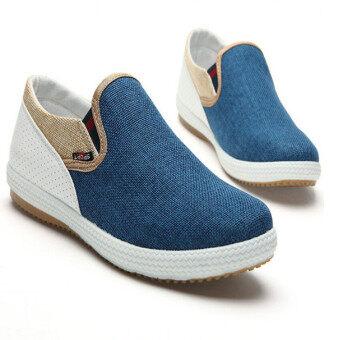 สปริงซัมเมอร์แฟชั่นสบาย ๆ ของผู้ชายขี้เกียจหายใจสีน้ำเงินรองเท้าผ้าใบช่วยแกะ D65