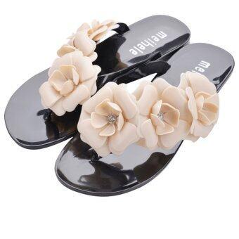 สตรีดอกไม้ฤดูร้อนดอก Meihele วุ้นชายหาดสบาย Flip Flops (สีดำ)