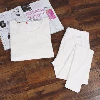 The Traverler : Heattech no ลองจอน กันหนาว ทั้งชุด เสื้อแขนยาว+กางเกงขายาว สีขาว
