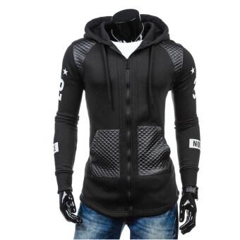 เสื้อกันหนาวมีฮู้ดซิปเสื้อขนเสื้อผ้ากีฬาเบสบอลชายจ็อกกิงสีดำ