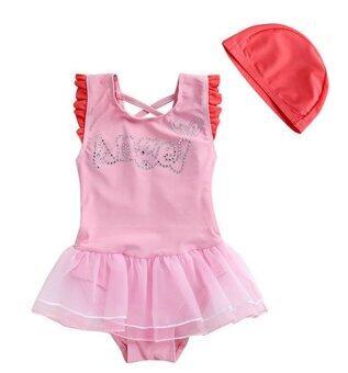Tankidsshop ชุดว่ายน้ำเด็กผู้หญิง ชุดวันพีชสีชมพูมีปีก พร้อมหมวก