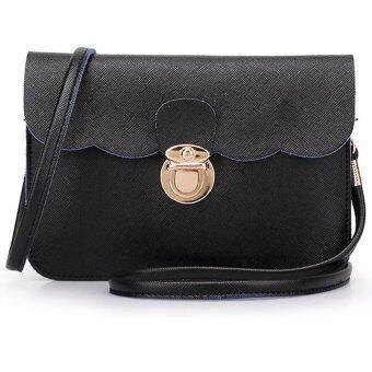 กระเป๋าสะพายสตรีกระเป๋าถือเครื่องหนังของคลัตช์ตายเงินส่งปีศาจสีดำ-ระหว่างประเทศ