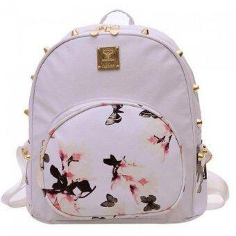 Premium Bag กระเป๋าเป้สะพายหลัง กระเป๋าเป้เกาหลี รุ่น PB012(สีขาว)
