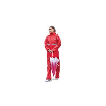 ชุดกันฝน เสื้อ + กางเกง + หมวก และแถบสีสะท้อนแสง - สีแดง