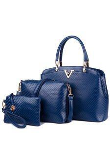 RichCoco SET กระเป๋าแฟชั่นเกาหลี + กระเป๋าถือผู้หญิง + กระเป๋าสะพายข้าง + เซ็ต 3 ใบ (สีน้ำเงิน)