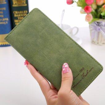 Women Long Wallet Card Holder Purse Matte Leather Wallets(Green) - intl