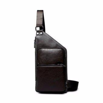 stmartshop กระเป๋าคาดอกหนังใหม่ Travel Shoulder Bag รุ่ง stm6201 (สีดำ)