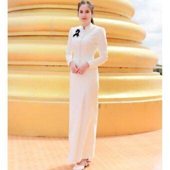 Dokpikul-ชุดขาว ชุดงานบวช ชุดทำบุญ ชุดไทยจิตรดาสีขาว ไทยจิตรลดาร้านดอกพิกุล ชุดถวายอาลัย ชุดงานพิธีมงคล- สีขาว