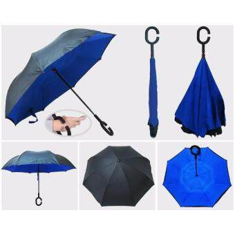 Play Us ร่มกลับด้าน Reverse Umbrella 2 ชั้น มือด้ามจับตัว C สีน้ำเงิน รุ่น AA11444