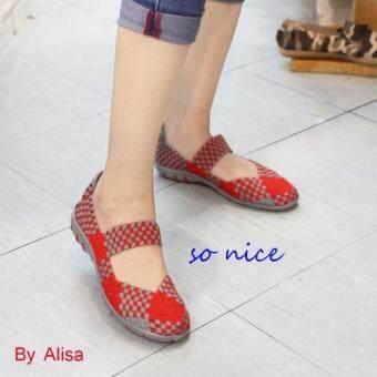 Alisa Shoes รองเท้าผ้าใบผู้หญิงแฟชั่นComfort รุ่น F700-2 Red Grey