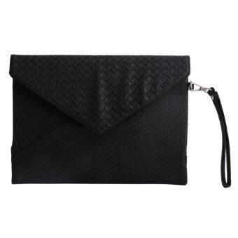 ผู้หญิงแฟชั่นกระเป๋าถือกระเป๋าสตางค์กระเป๋าคลัตช์ปาร์ตี้ยามเย็นซองเงิน (สีดำ)