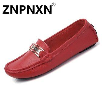Harga ZNPNXN Fashion new leather casual flat peas shoes non-slip soft female driver shoes tide(Red) - intl