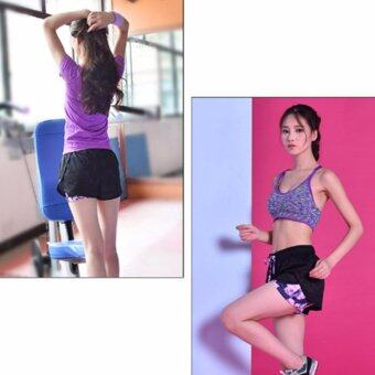 Harga HengSong Women's Sports Shorts Fake Two Piece Mesh Cover Quick and dry Running Pants (Purple) - intl