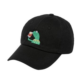 Harga Unisex Mens Tea Hat The Frog Sipping Drinking Tea Baseball Dad Cap - intl