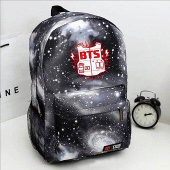 Bts บังทันหนุ่มร้อน Bts กระเป๋าเป้นักเรียนกระเป๋ากระสุนกองกระเป๋าสะพายไหล่-อัลบั้มคู่ Bts โปสเตอร์ B.A.P กระเป๋า (สี: สีดำ)