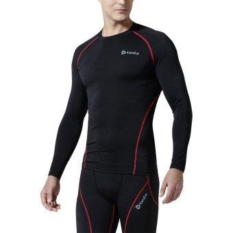 Tesla เสื้อเบสเลเยอร์รัดกล้ามเนื้อแขนยาว คอกลม ดำ-ขลิบแดง