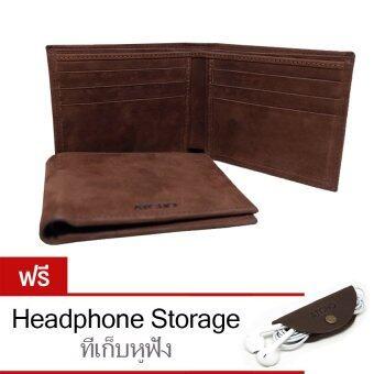ATCHO กระเป๋าสตางค์ผู้ชาย หนังแท้ นูบัค - Nubuck Leather Wallet รุ่น WLNM0402 (Dark Brown)