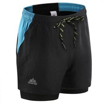 Harga Men's Training Gym Running Sports Short Black - intl