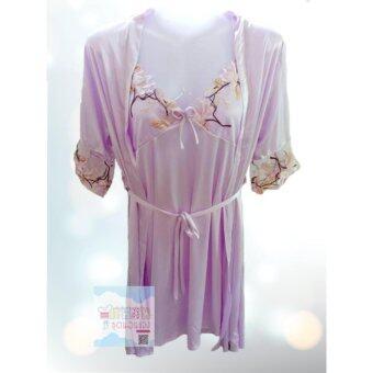 ชุดนอนผ้าซาติน ชุดสายเดียวกระโปรง พร้อมเสื้อคลุม - SA 301