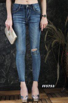 Platinum Fashion กางเกงยีนส์ขายาวเอวสูง ทรงสกินนี่ แต่งขาด รุ่นFF5753