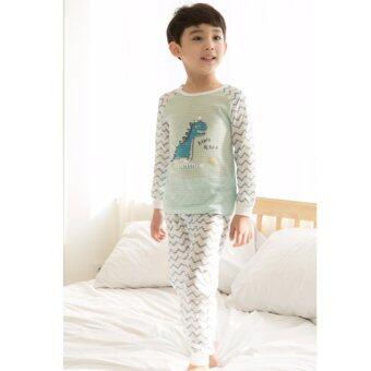Ppippilong ปิ๊บ ปี้ ลอง Happy Dino ชุดนอนลำลอง ผ้ายืดเกาหลีนำเข้า cotton 100%