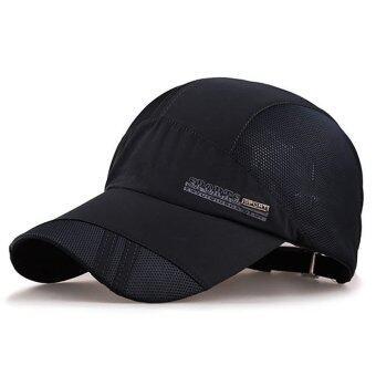 ผู้หญิงธรรมดาคนหมวกเบสบอลฮิพฮอพหน้ากากหมวกตาข่ายตะ Snapback ปรับได้ (สีดำ)