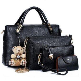 Bag Fashion เซ็ต4ใบ กระเป๋าแฟชั่น รุ่น2101 (สีดำ)