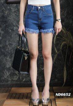 Platinum Fashion กางเกงยีนส์ขาสั้นเอวสูง แต่งขาดลุ่ยๆปลาย รุ่นMS6652