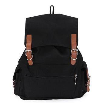 Leegoal กระเป๋าเป้เป้นักเรียนกระเป๋าผ้าใบเท่สุดเก๋สำหรับเรียน สีดำ
