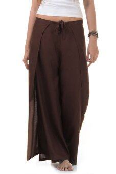 Princess of Asia กางเกงผ่าข้าง กางเกงแบบผูก กางเกงพัน (สีน้ำตาล)