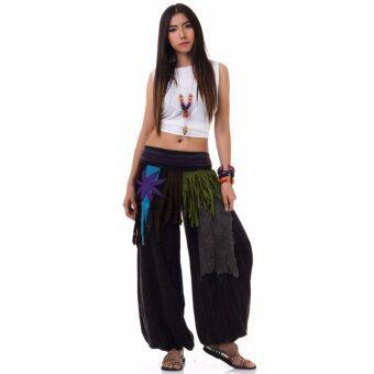 Princess of asia กางเกงแม้ว กางเกงผ้าต่อ ฮิปปี้ โบฮีเมียน (สีดำ)